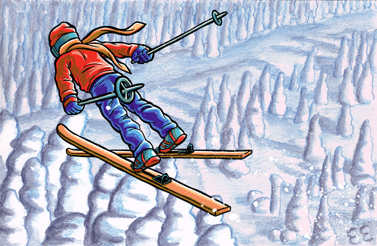 Christmas Card featuring a ski jumper.