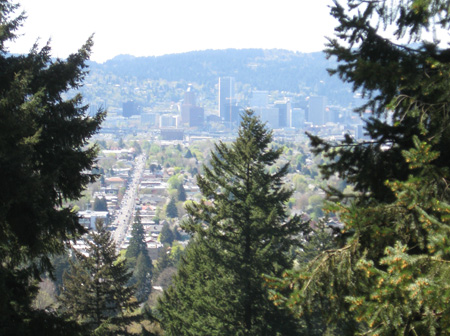 View of downtown Portland from the top of Mount Tabor.