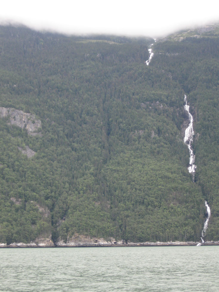 Alaskan waterfall in the fjord