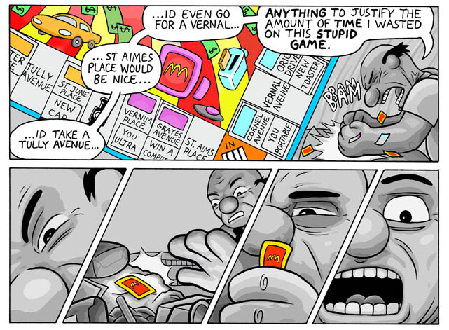 Page 6 of the McDonalds Monopoly downward spiral online comic.