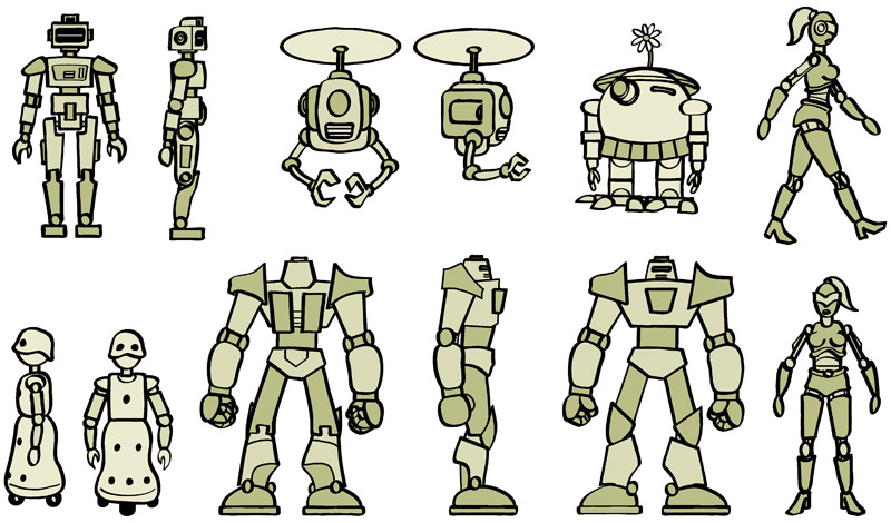 Robo Luv webcomic character model sheet, created in Adobe Illustrator.