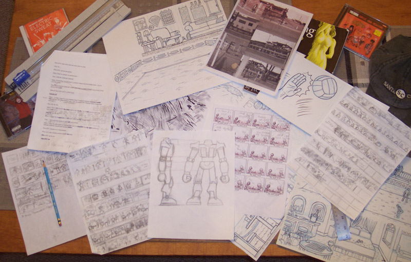 Various scripts, sketches and layouts used in the production phase.