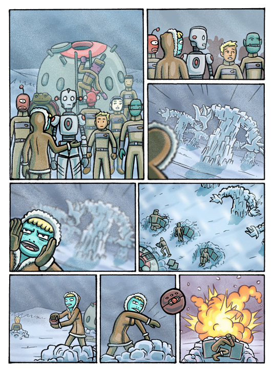 Out of this World Ice Monster Battle Sequential Art