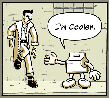 Panel from a very stupid comic featuring a cool cooler.