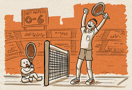 artwork for Statistical Fact comic series featuring baby versus man tennis match