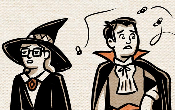 witch and vampire costumes
