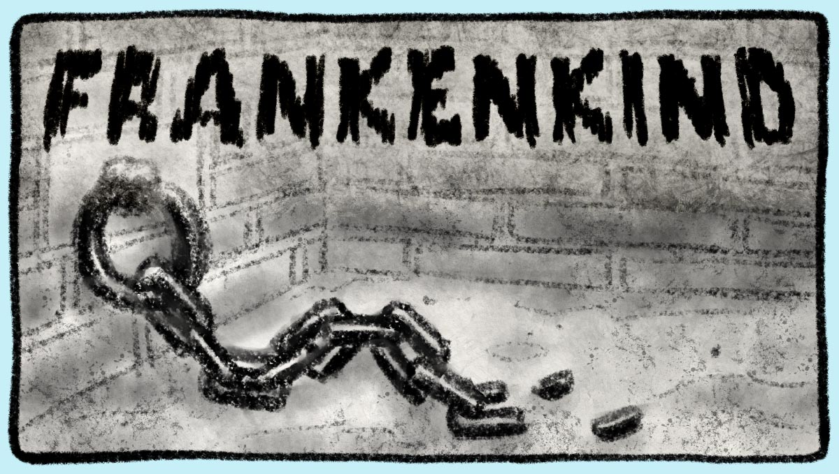 Gritty Frankenkind logo over the image over a dungeon with a broken chain attached to the wall